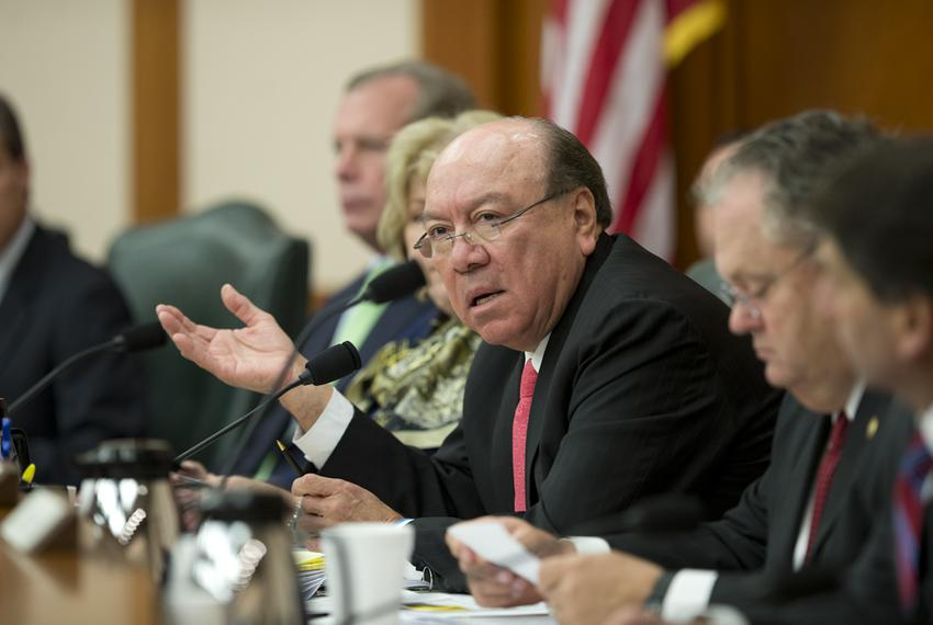 "Sen. Juan ""Chuy"" Hinojosa, D-McAllen, speaks his concerns about law enforcement agencies working together on the border su..."