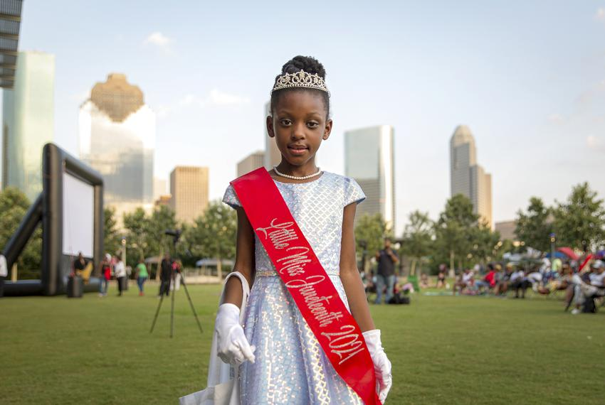 Parker Wilson, crowned Little Miss Juneteenth 2021 by the Mildred Johnson 12th Annual Miss Juneteenth Pageant, at the Junete…