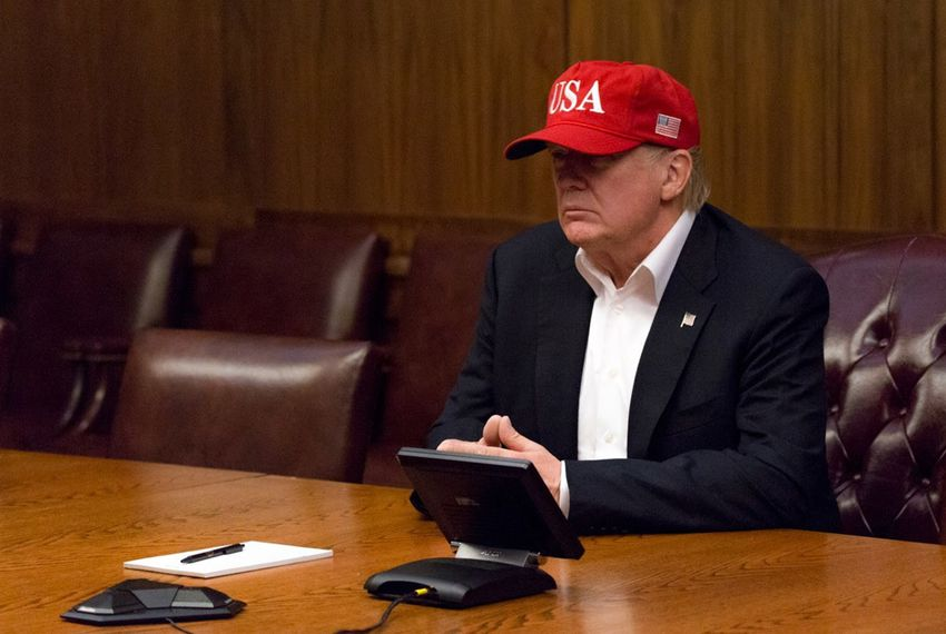 President Donald Trump leads a video teleconference monitoring current tropical storm conditions and damage assessments in southeastern Texas on Sunday, Aug. 27, 2017, from a conference room at Camp David near Thurmont, Maryland.