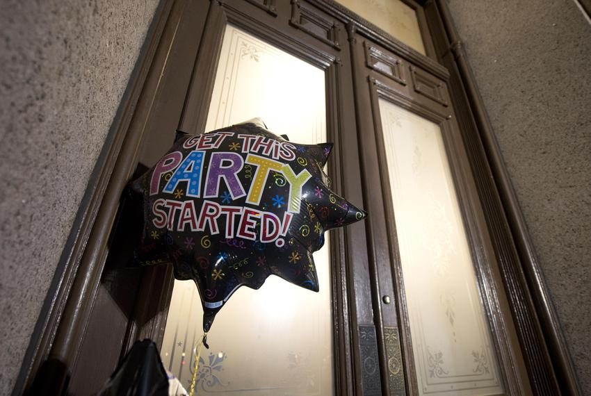 8:25 p.m. — A party balloon hangs outside the south door of the Texas Capitol, left by a visitor and his daughter while insi…