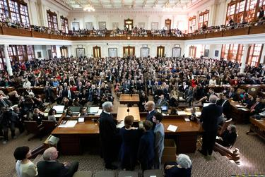 Opening Day of the 86th session of the Texas Legislature with action in the Texas House  Election of Speaker Dennis Bonnen, R-Angleton, by unanimous vote.