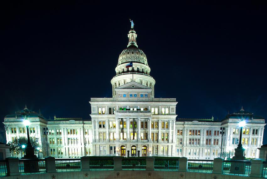 The Texas Capitol at night.