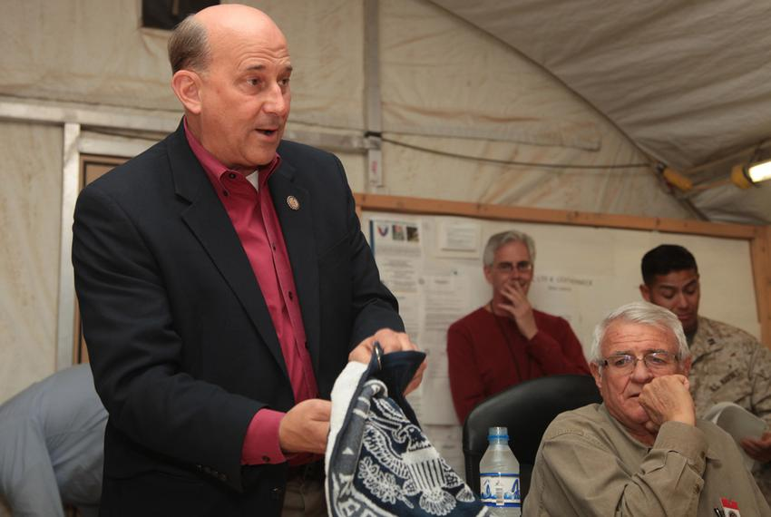 U.S. Rep. Louie Gohmert at the annual alumni Aggie Muster at Camp Leatherneck Helmand Province in Afghanistan on April 21,...