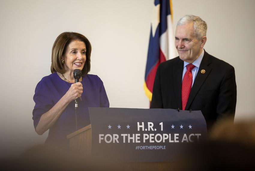 House Speaker Nancy Pelosi and U.S. Rep. Lloyd Doggett, D-TX 35, hold a joint press conference on H.R. 1 on Mar. 5, 2019.