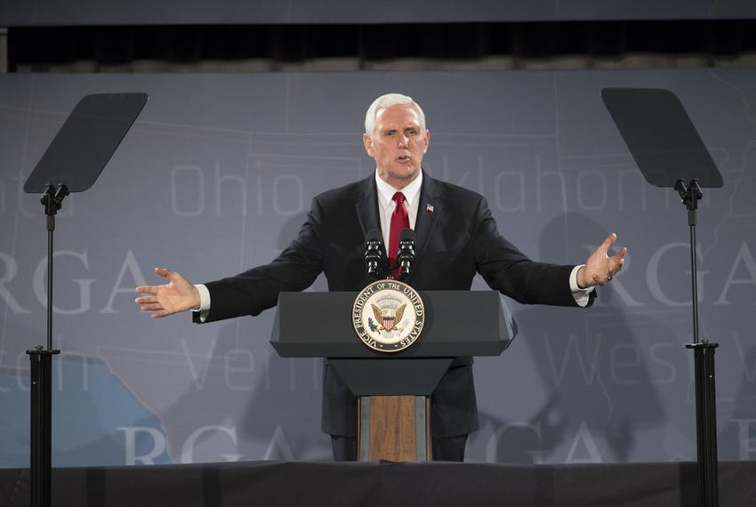 U.S. Vice President Mike Pence defends the record of the Trump administration during a 25-minute speech to the Republican ...