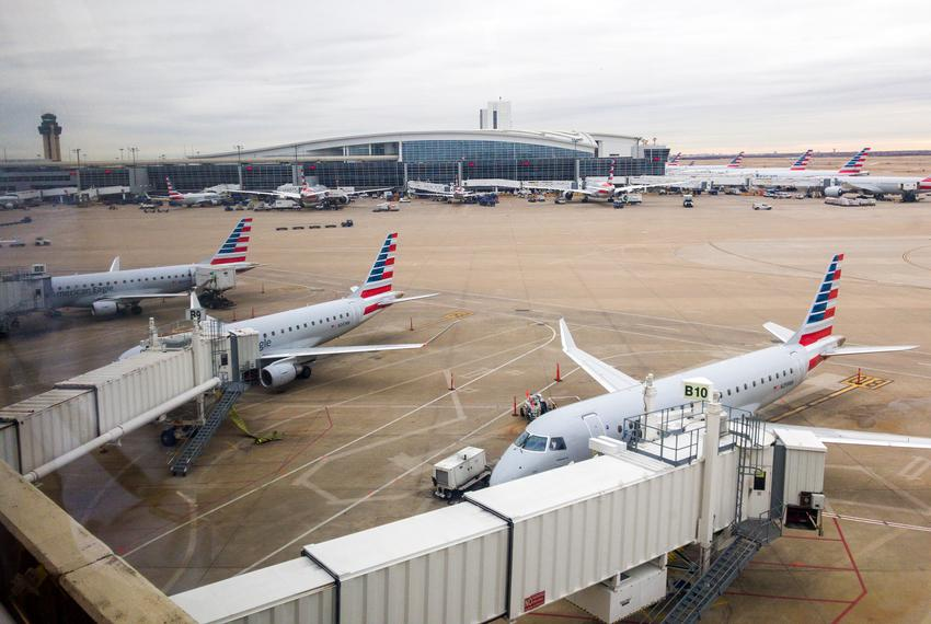 American Airlines planes on the tarmac at the Dallas-Fort Worth International Airport.