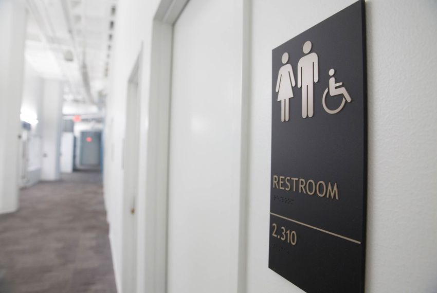An all-gender restroom at The University of Texas at Austin.