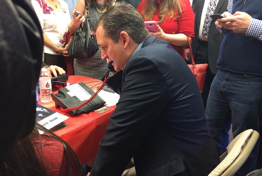 Sen. Ted Cruz phonebanking in Greenville, South Carolina on Dec. 7, 2015.