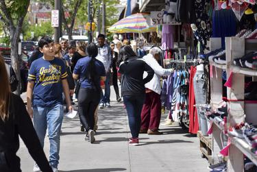 Shoppers in downtown El Paso on April 12, 2019.