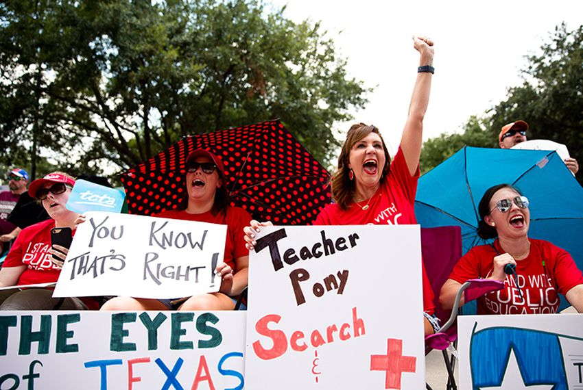 The day before the start of the special session — on July 17, 2017 — several teacher and education groups turned out at the state Capitol to rally against GOP leaders' public education agenda.