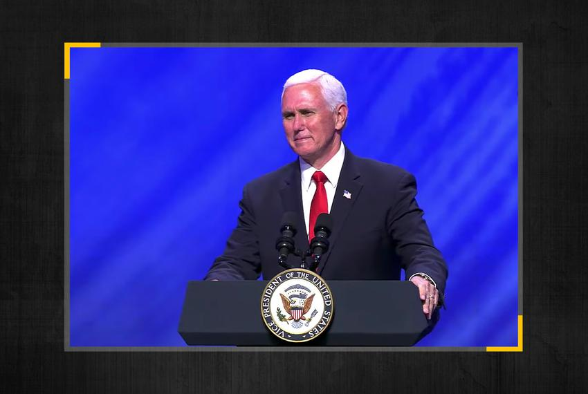 Vice President Mike Pence spoke at First Baptist in Dallas on Sunday.