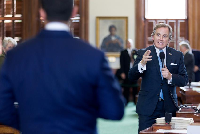 State Sen. Bryan Hughes, R-Mineola, on the Senate floor on May 15, 2019.