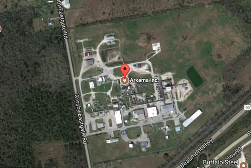 Satellite view of the Arkema SA chemical plant in Crosby, Texas.