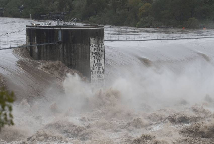Record rainfall in Llano and Burnet counties in the Texas Hill Country cause major flooding in Marble Falls on Oct. 16, 2018.