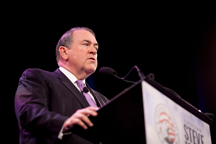 Former Arkansas Gov. Mike Huckabee speaks at the Iowa Freedom Summit at the Hoyt Sherman Place theater in Des Moines, Iowa on Saturday, Jan. 24, 2015.