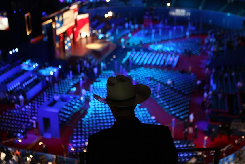 Texas delegate checks out the floor of  the convention space before events begin at the Tampa Bay Times Forum in Tampa, Flor…