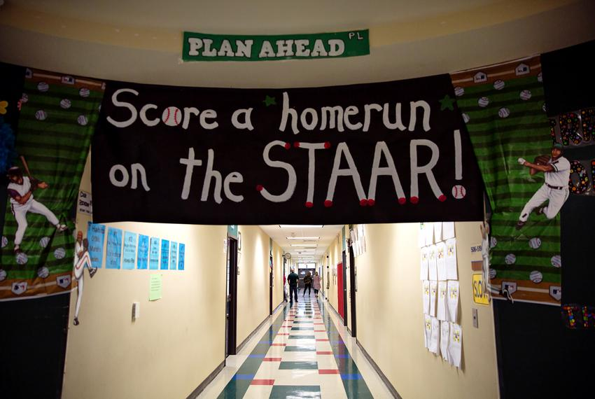 STAAR themed decorations adorn the hallways of Wharton Elementary School in Wharton on April 21, 2018.