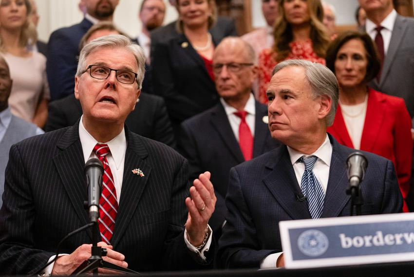 From left: Lt. Gov. Dan Patrick and Gov. Greg Abbott gave updates on their plan for Texas to build its own border wall at a …