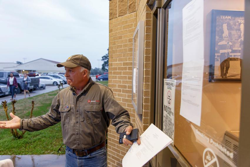 Shepherd ISD board of trustee Michael Courvelle outside of the Shepherd ISD administration building in Shepherd on Monday,...