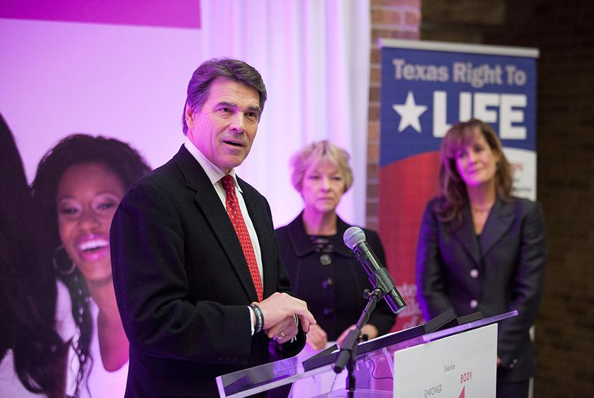Gov. Rick Perry at a press conference announcing his support for Texas Right to Life's Preborn Pain Bill in Houston on Dec. …
