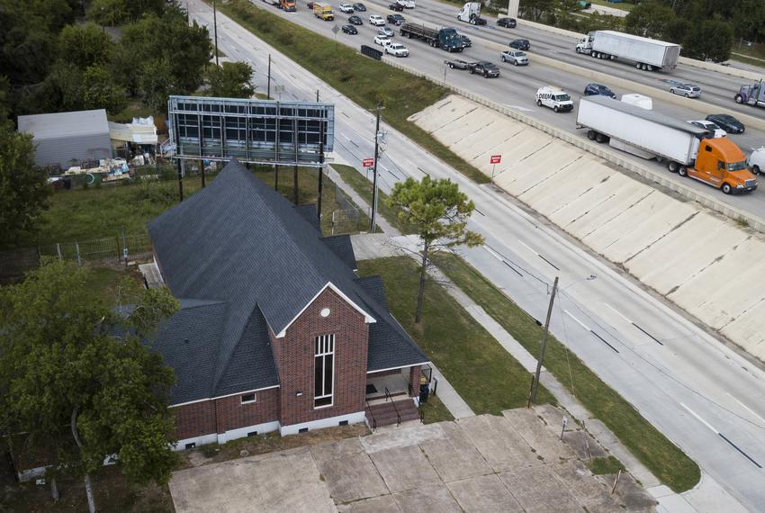 An aerial view of the Greater Mt. Olive Missionary Baptist Church in Houston on Sept. 16, 2019.