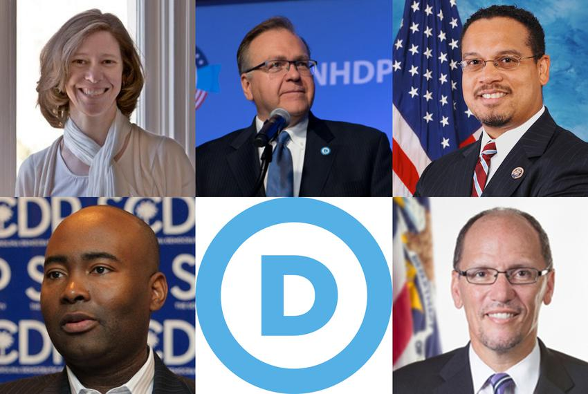 Five candidates to chair the Democratic National Committee speaking in Austin (clockwise, from top left): Idaho Democratic P…