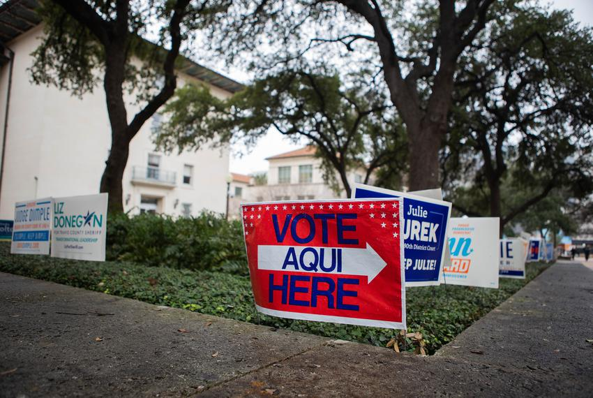 Voting signs at The University of Texas at Austin campus on Feb. 19, 2020, the second day of early voting for the Texas Pr...