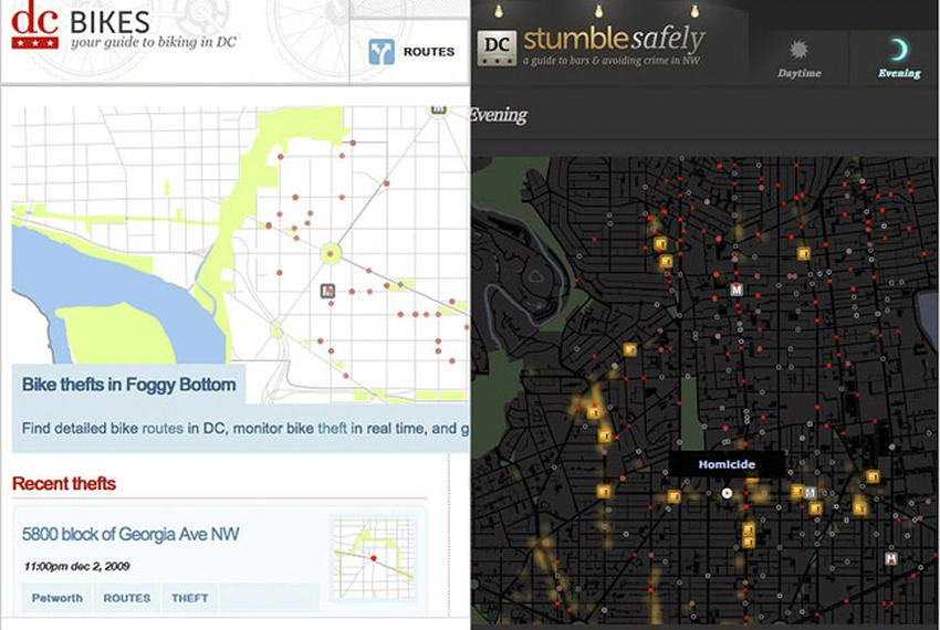 Sites like D.C. Bikes and Stumble Safely present government data with innovative applications.