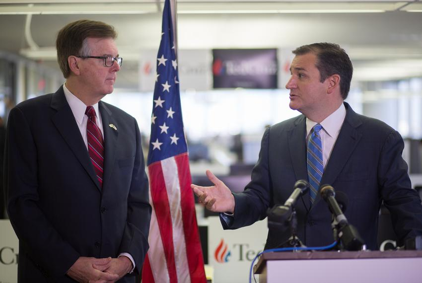 U.S. Sen. Ted Cruz, right, announces that Texas Lt. Gov. Dan Patrick is endorsing Cruz's presidential campaign. The Republ...