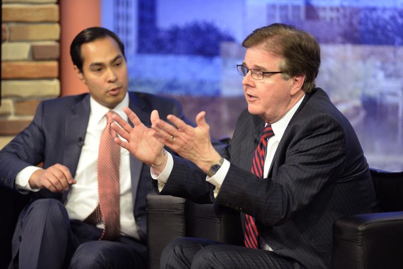 Sen. Dan Patrick, r, and San Antonio Mayor Julian Castro debate immigration at Univision on April 15, 2014.