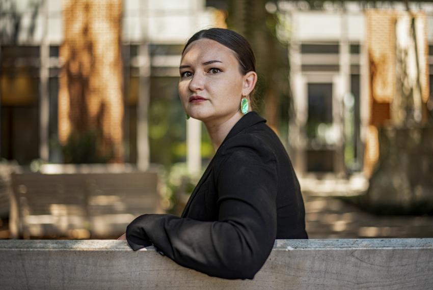 Sidney Smith poses for a photo outside Baylor Law School in Waco, Texas on Sunday, May 17, 2020. Smith, a recent graduate ...