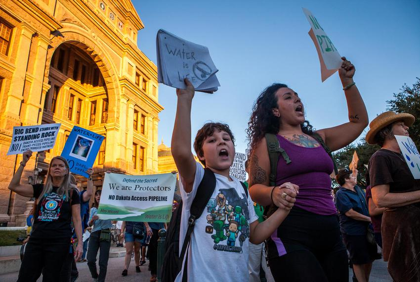 Protesters of the Dakota Access Pipeline rallied at the Texas capitol on Nov. 15, 2016.