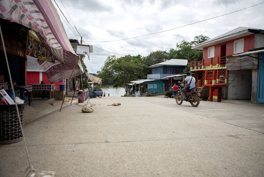 The main street in La Tecnica, Guatemala on Nov. 17, 2019. The street leads to a boat ramp on the Usumacinta river, which forms an international border with Mexico.