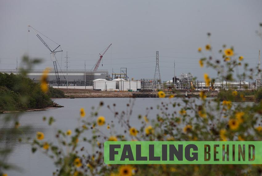Construction at the DOW chemical plant along the Brazos River in Freeport on July 9, 2012.