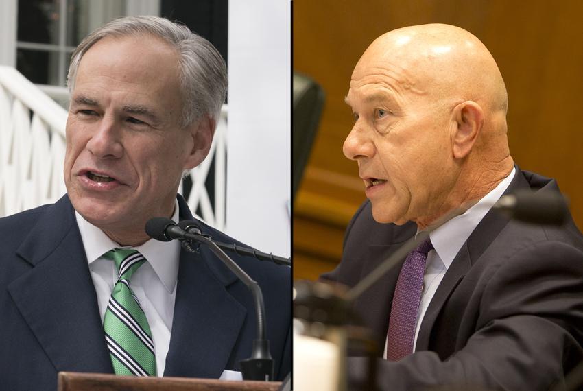 Gov. Greg Abbott (left) and state Sen. John Whitmire, D-Houston.