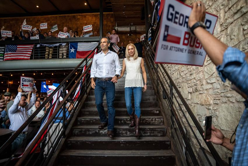 Texas Land Commissioner George P. Bush announces his candidacy for Attorney General at an event in Austin on June 2, 2021.