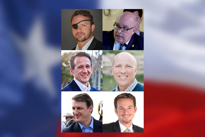 Left to right, Republican congressional runoff opponents (top row): Dan Crenshaw and state Rep. Kevin Roberts, R-Houston, vy…