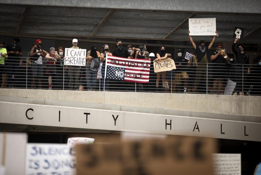 Protesters marched in Austin against the killing of George Floyd by Minneapolis police officers on May 31, 2020.