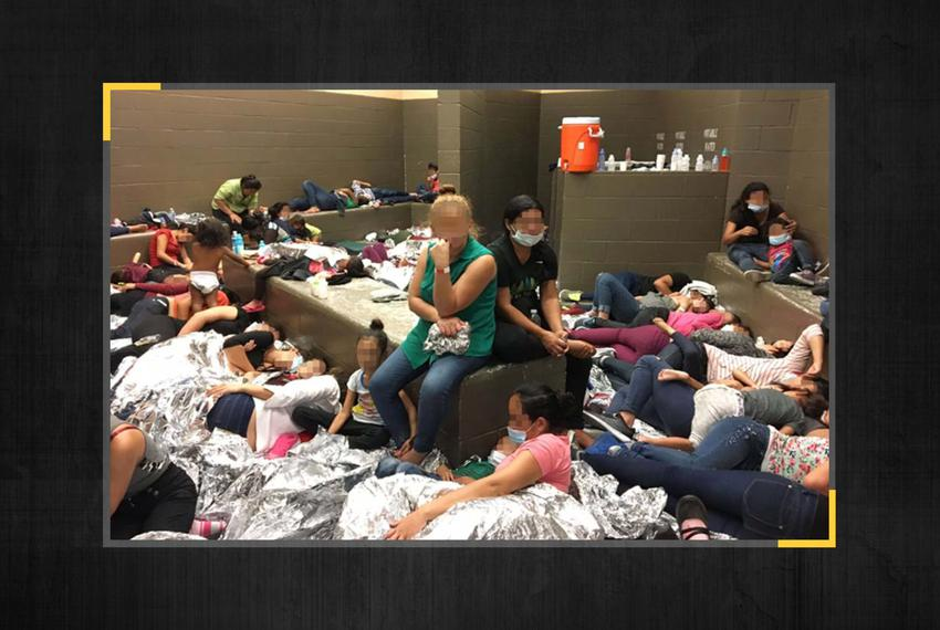 An image from the Office of Inspector General report illustrating overcrowding at the Border Patrol's Weslaco Station on Jun…