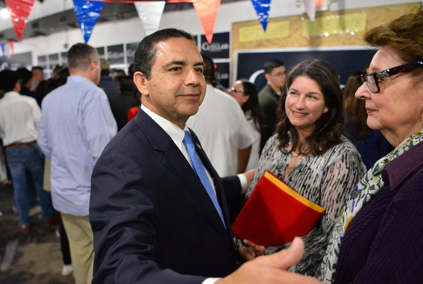 U.S. Rep. Henry Cuellar, D-Laredo, greets supporters at an event featuring Speaker of the House Nancy Pelosi at his campaign…