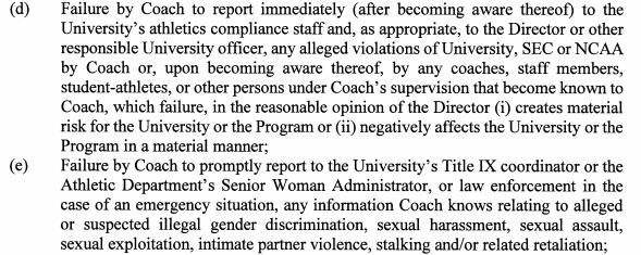 A portion of Jimbo Fisher's contract with Texas A&M University, stipulating two reasons for which the head coach can be fired for cause.