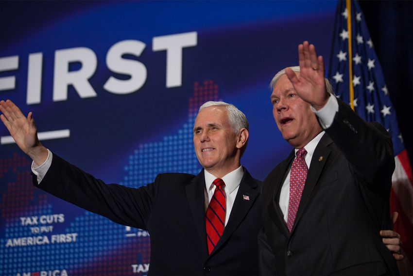 Vice President Mike Pence and U.S. Rep. Pete Sessions, R-Dallas, appear at an America First Policies event in Dallas on Saturday, Feb. 17, 2018.