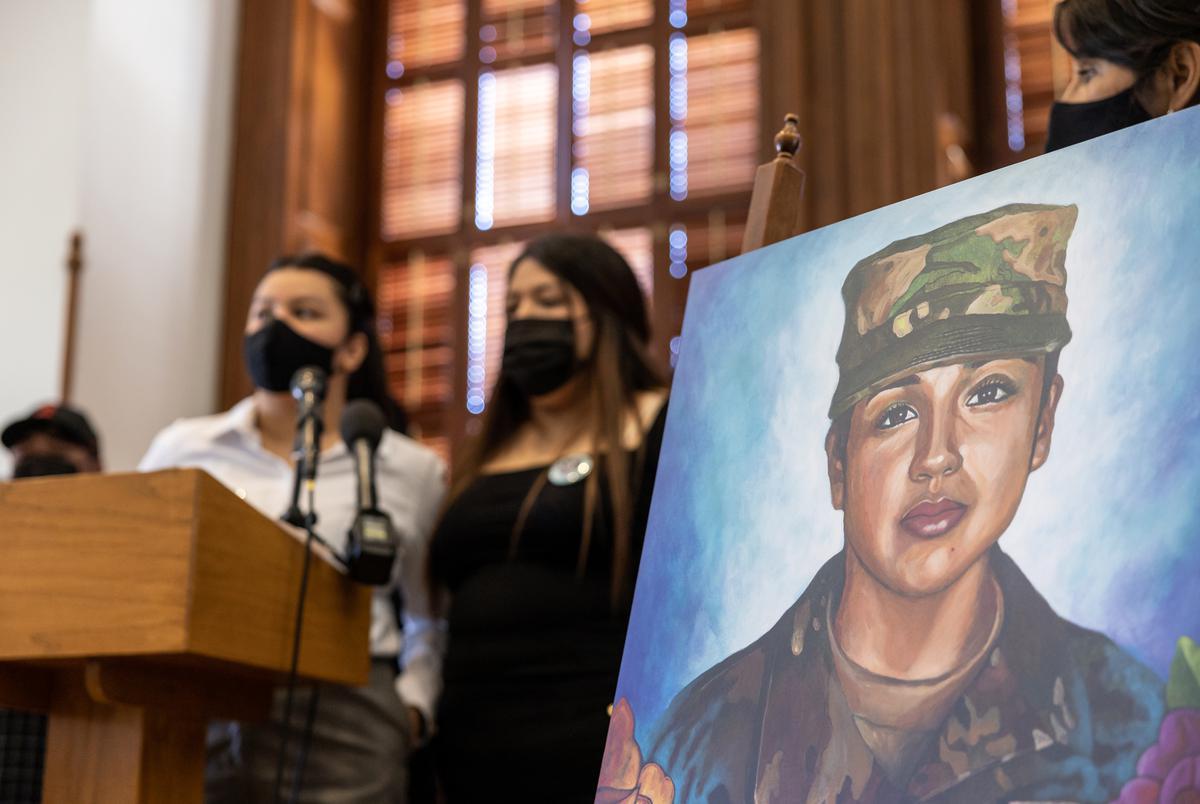 Vanessa Guillen's sisters Lupe Guillen, left, and Mayra Guillen speak at a press conference regarding legislation that would designate Sept. 30, Guillen's Birthday, as 'Vanessa Guillen Day' on April 20, 2021.