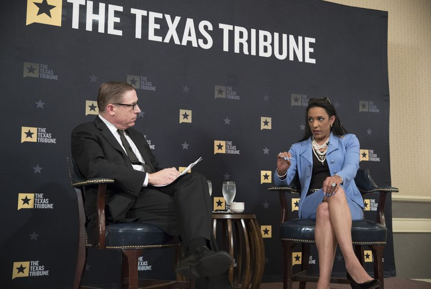 State Rep. Dawnna Dukes, D-Austin, in conversation with The Texas Tribune's Evan Smith at the Austin Club on Nov. 7, 2017.