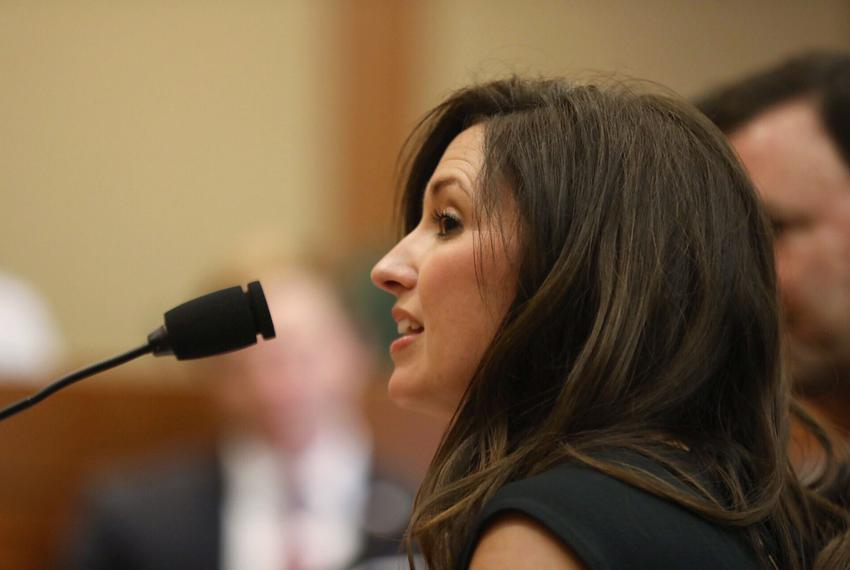Becky Leach, wife of state Rep. Jeff Leach, R-Plano, testifies before the Judiciary and Civil Jurisprudence Committee on Apr…