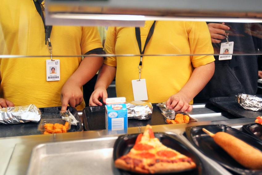 Students grab lunch at North Side Independent School District in San Antonio.