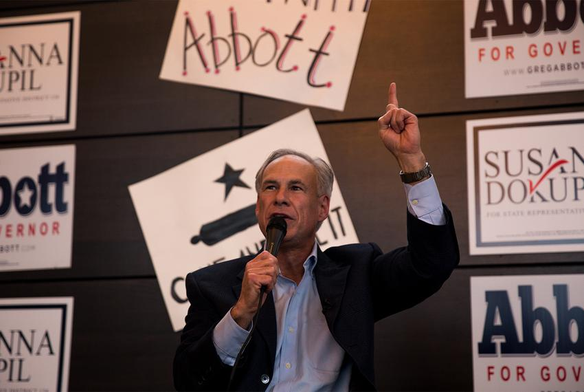 Gov. Greg Abbott speaks at a get out the vote rally in Houston on Tuesday, Feb. 20, 2018, the first day of early voting for …
