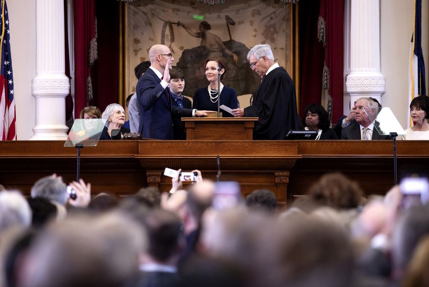 State Rep. Dennis Bonnen, R-Angleton, was sworn in as House speaker in January. U.S. District Judge John D. Rainey performed the ceremony as Bonnen's wife, Kimberly Bonnen, looked on.