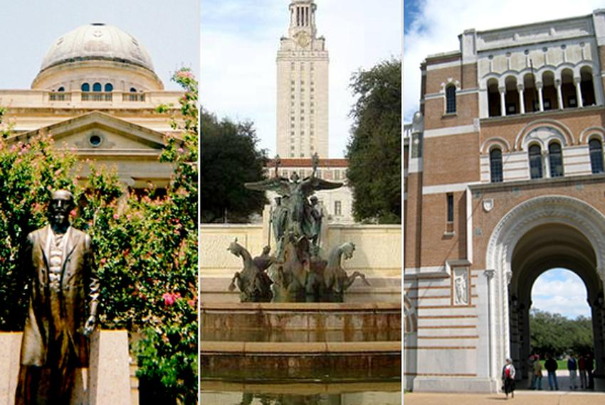 Texas A&M University, the University of Texas and Rice University