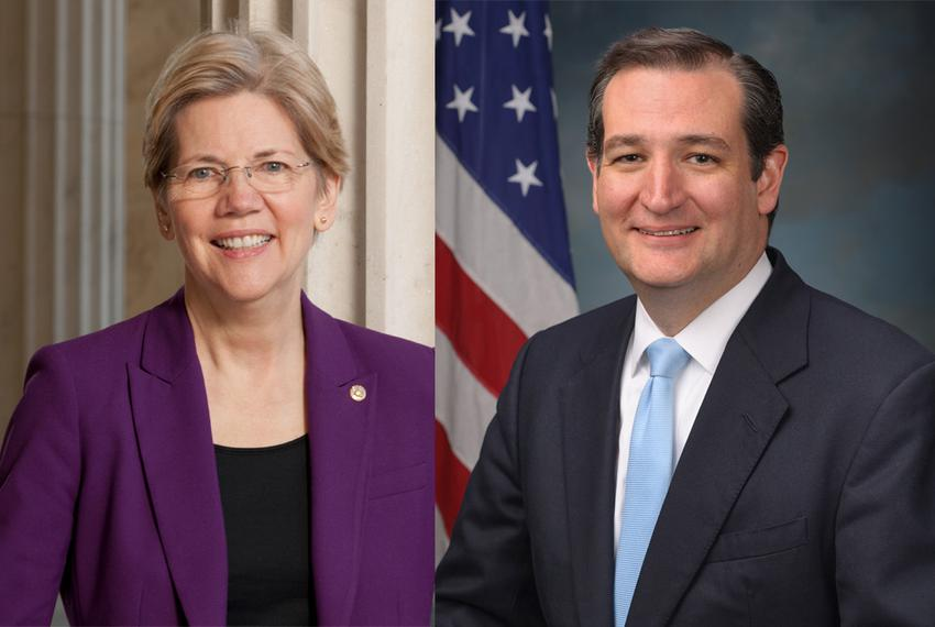 U.S. Sens. Elizabeth Warren, D-Massachusetts, and Ted Cruz, R-Texas.